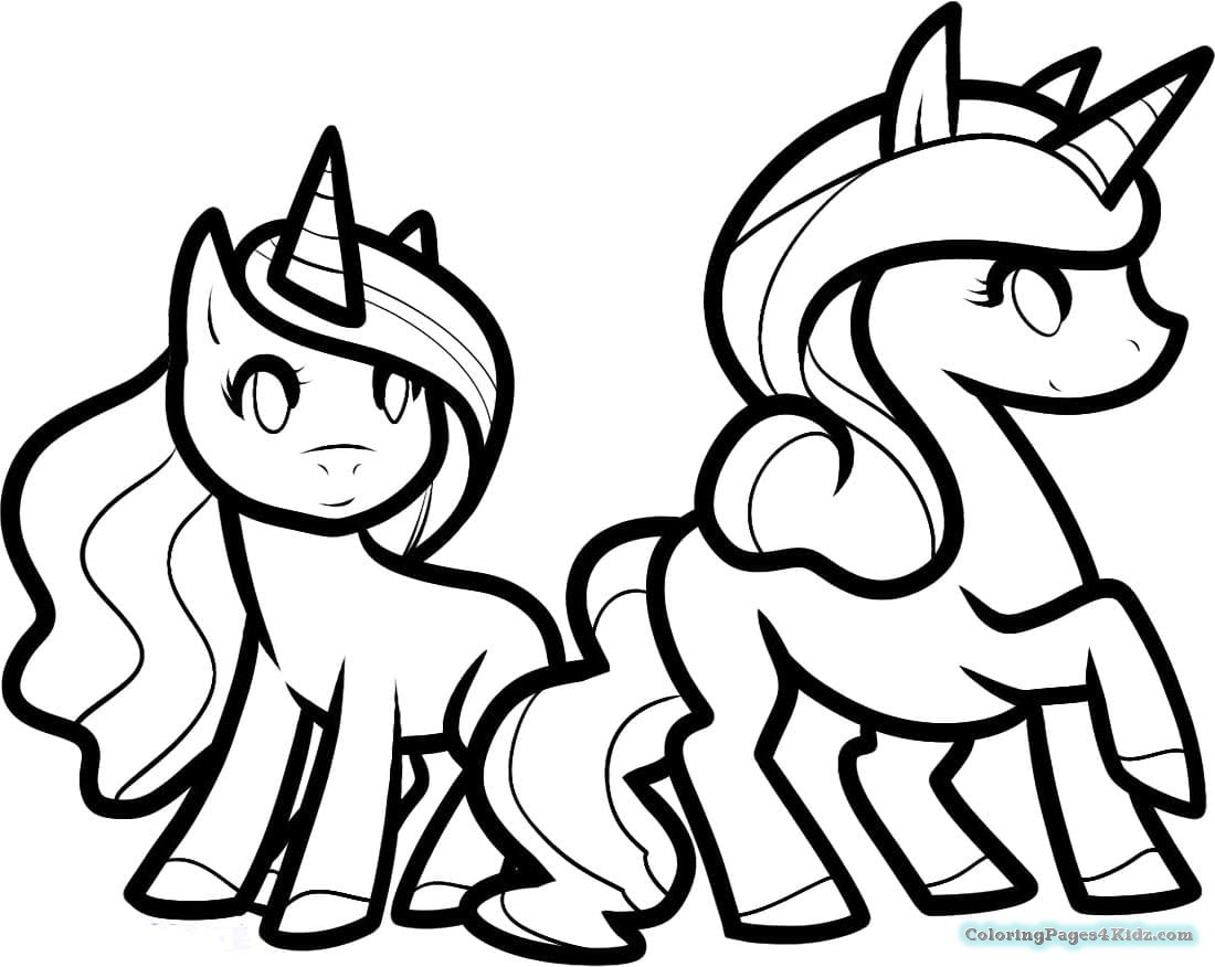 Printable cute unicorn coloring pages