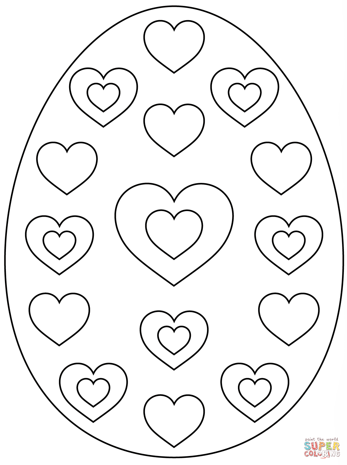 printable easter egg coloring pages easter egg with hearts coloring page free printable coloring printable egg easter pages