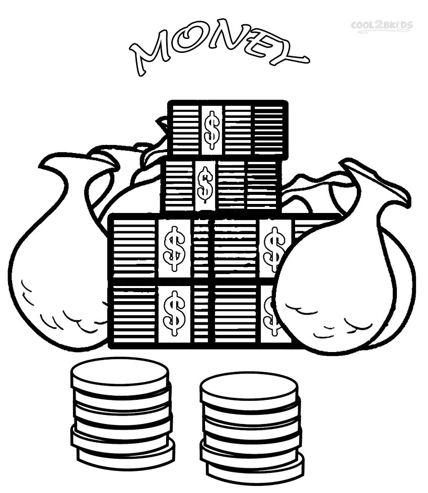 Printable money coloring pages