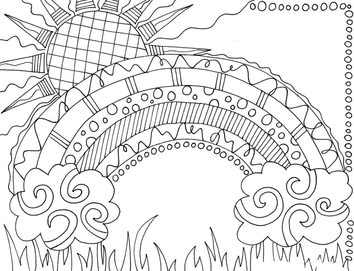 printable rainbow coloring page hard and difficult to color adult rainbow coloring pages printable rainbow coloring page