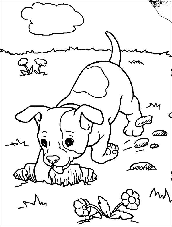 Puppy realistic dog coloring pages