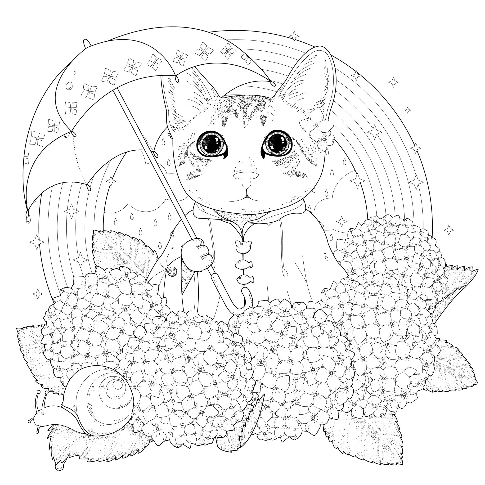 Rainbow cat coloring page