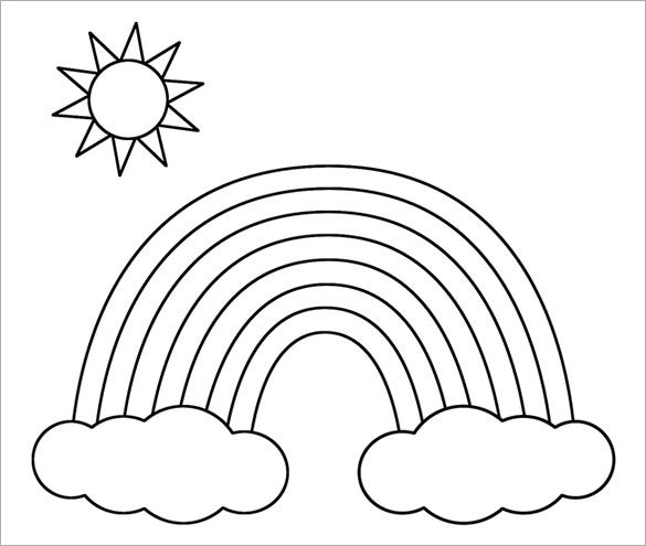 rainbow outline coloring page rainbow outline clipart clipart kid coloring home coloring page rainbow outline