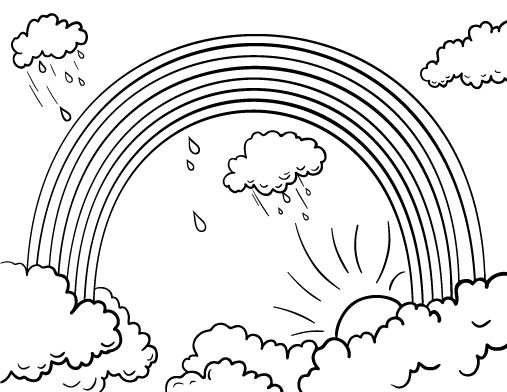 rainbow outline coloring page rainbow outline free download on clipartmag rainbow page coloring outline