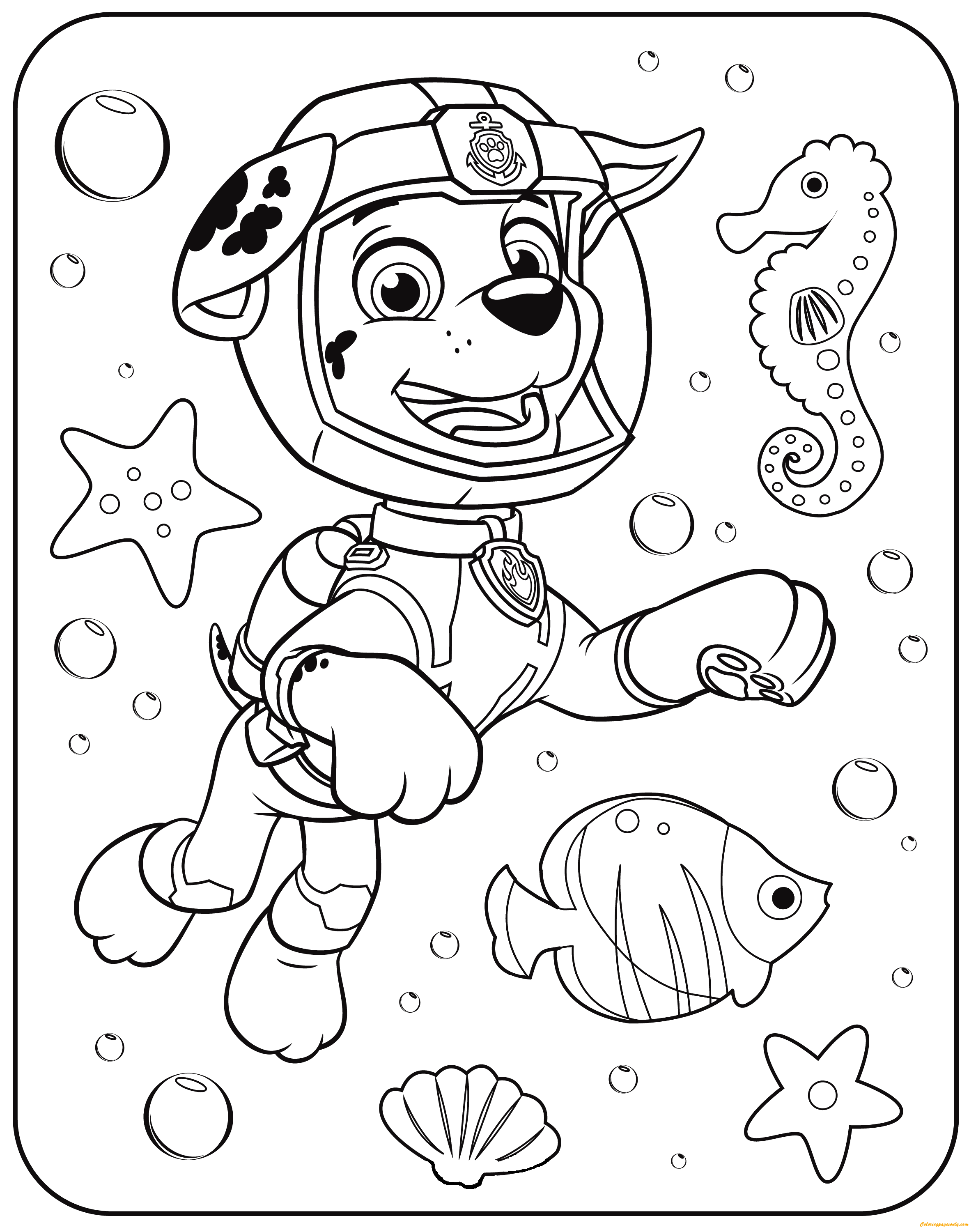 rescue dog coloring pages paw patrol marshall underwater coloring page free rescue pages coloring dog