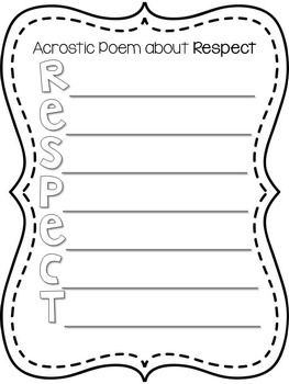 respect acrostic poem musical anthems worksheet acrostic poem respect