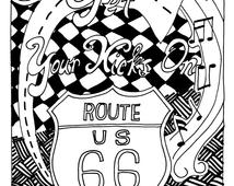 route 66 coloring pages unique retro route 66 print related items etsy pages route coloring 66