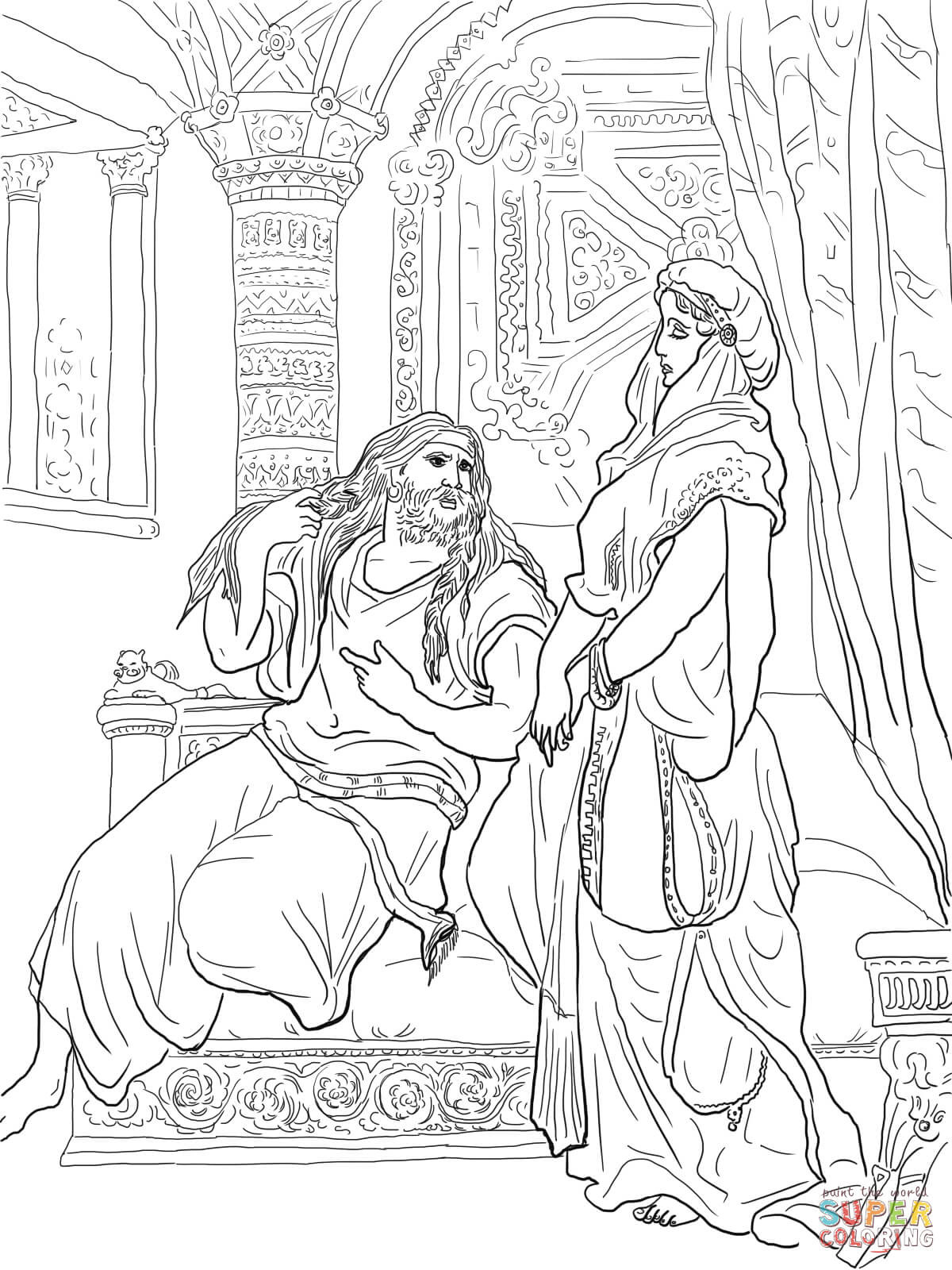 samson bible story coloring pages bible coloring page samson defeats the philistines free story coloring bible pages samson