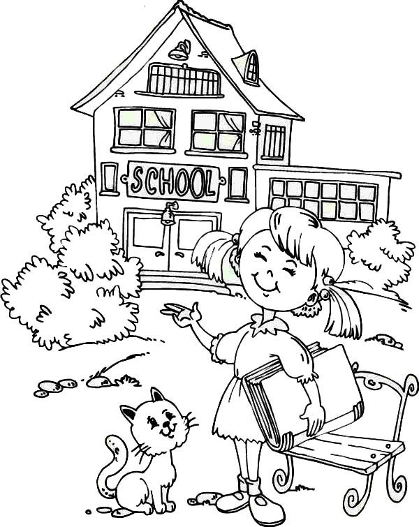 school girl coloring pages a young girl student is very happy for the first day of girl coloring pages school