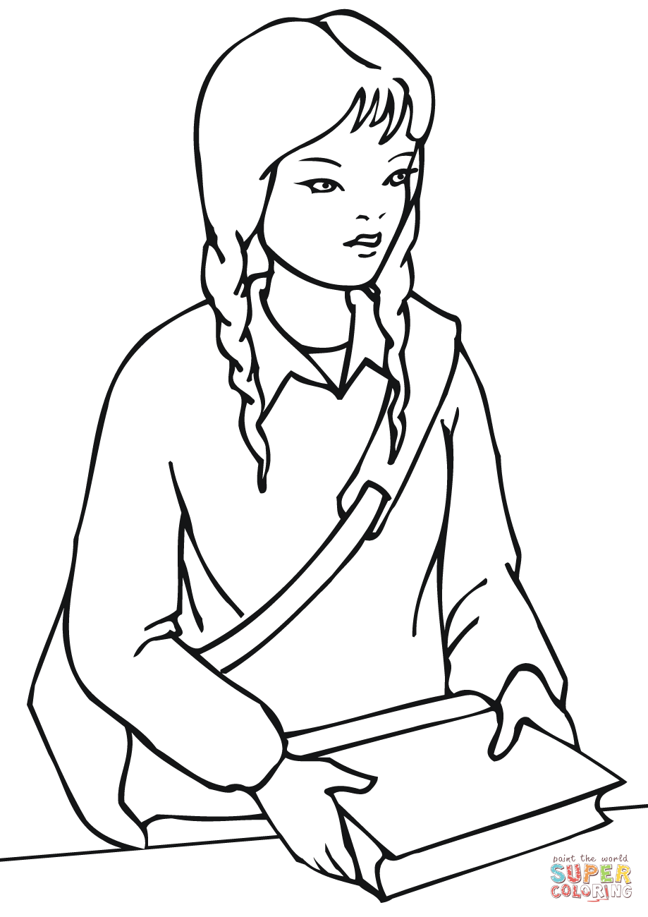 School girl coloring pages
