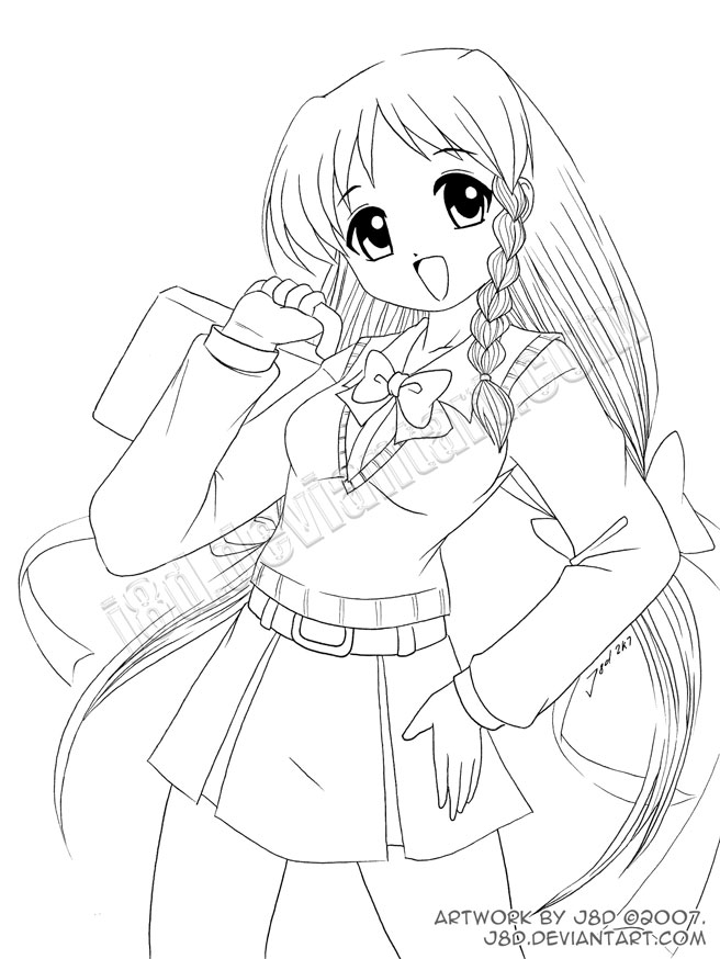 school girl coloring pages school girl lineart by j8d on deviantart girl coloring pages school