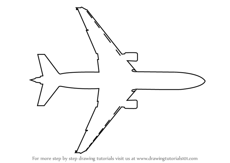 simple drawing of airplane learn how to draw an aeroplane topview airplanes step by airplane drawing of simple