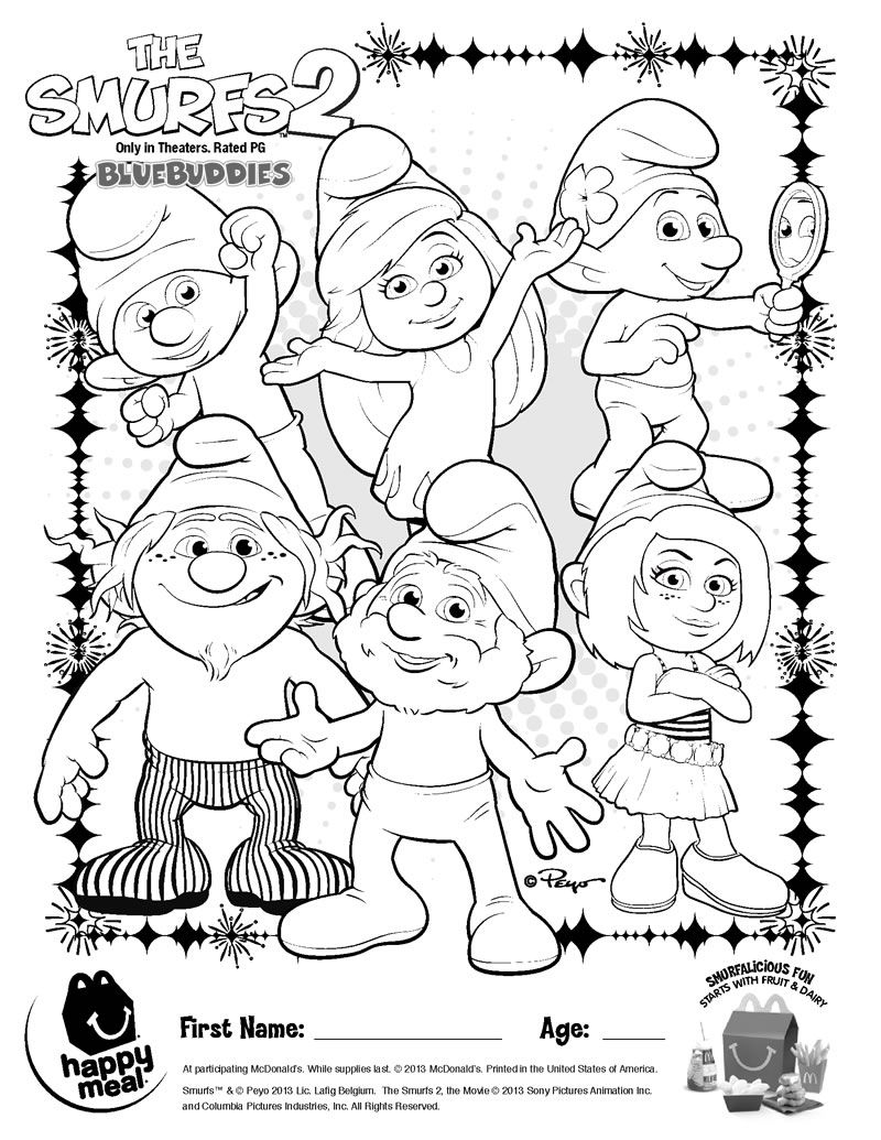 Smurfs 2 coloring pages