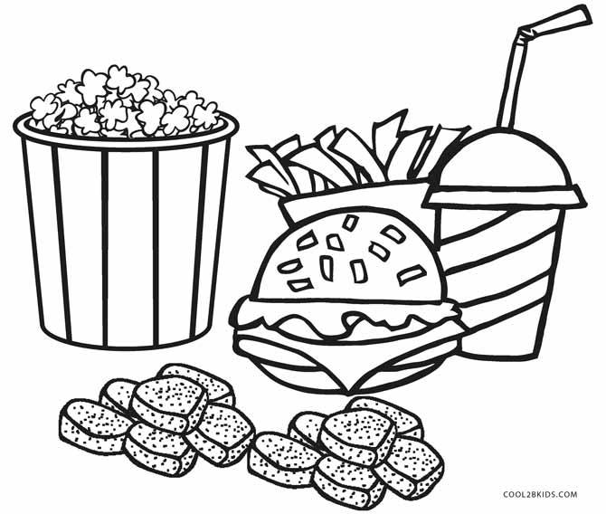 snack coloring pages fast food drawing at getdrawings free download pages snack coloring