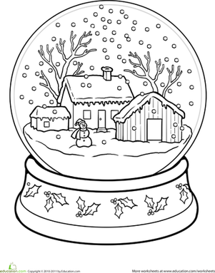 snow globe coloring page snow globe worksheet educationcom page globe coloring snow