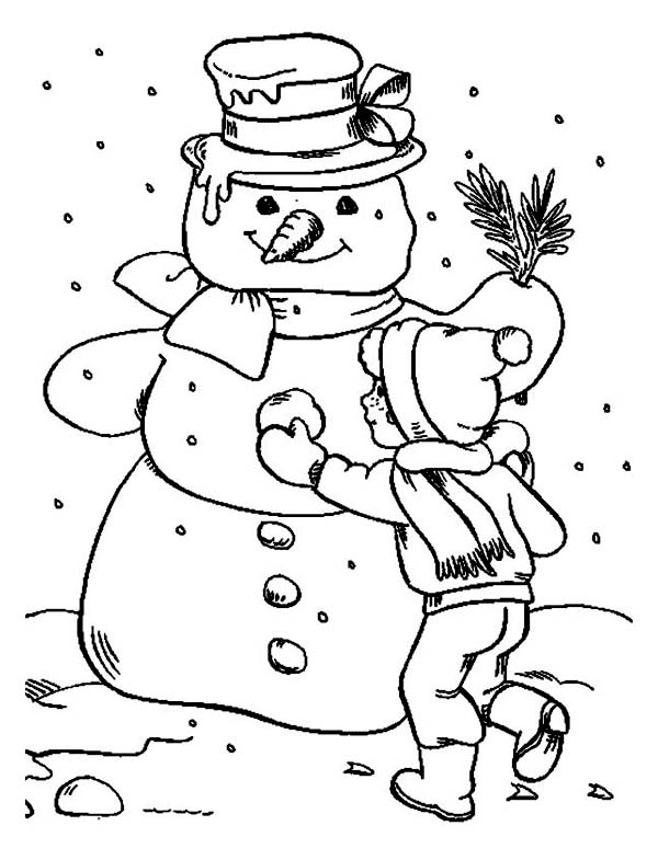 snowman for coloring a children finishing his giant snowman coloring page snowman coloring for
