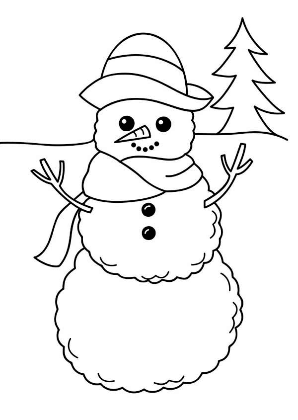 snowman for coloring a simple winter snowman figure coloring page kids play color coloring snowman for