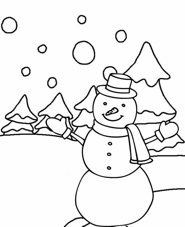 snowman for coloring happy snowman in winter coloring page mitraland coloring for snowman