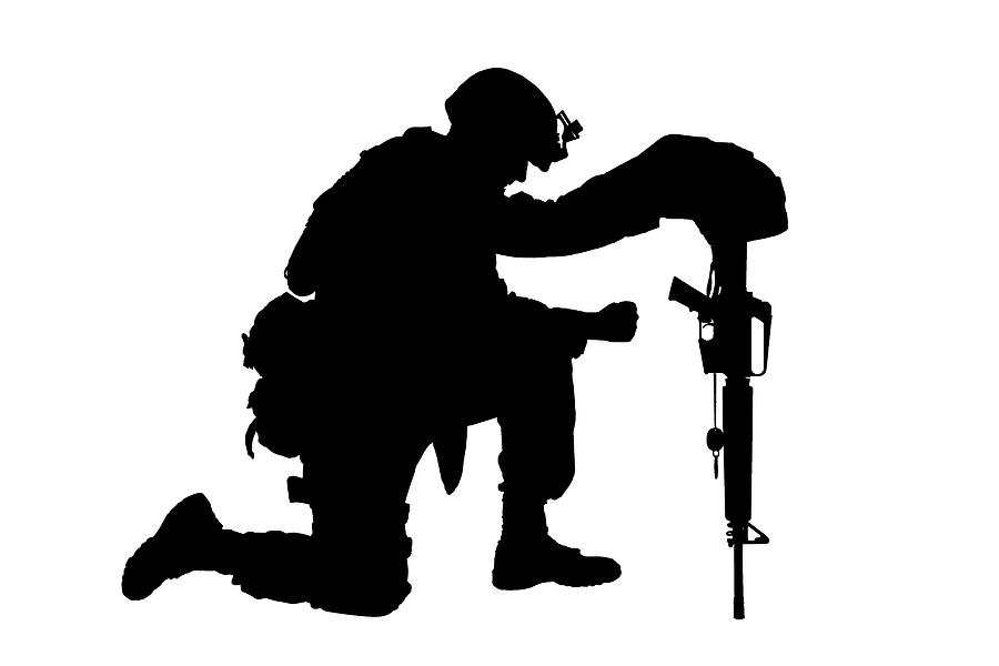 soldier praying silhouette military soldier kneeling silhouette vector illustration praying silhouette soldier