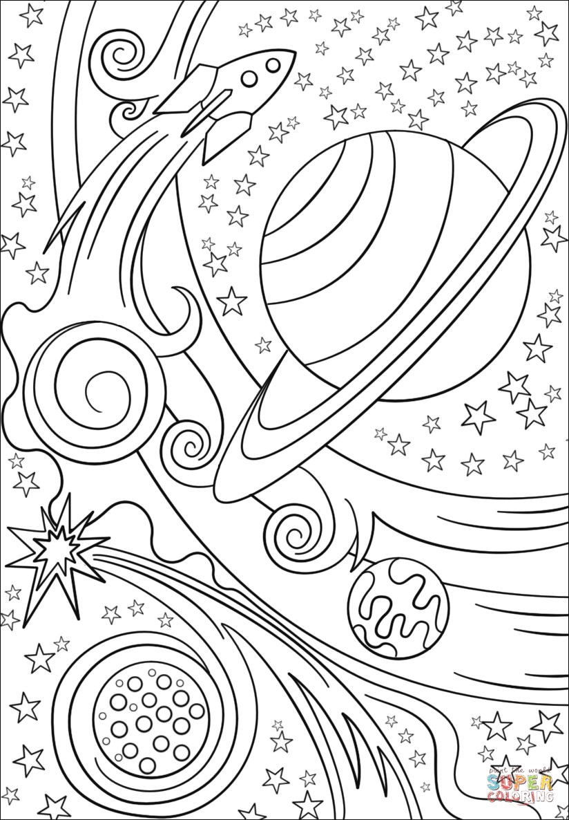 Space printable coloring pages