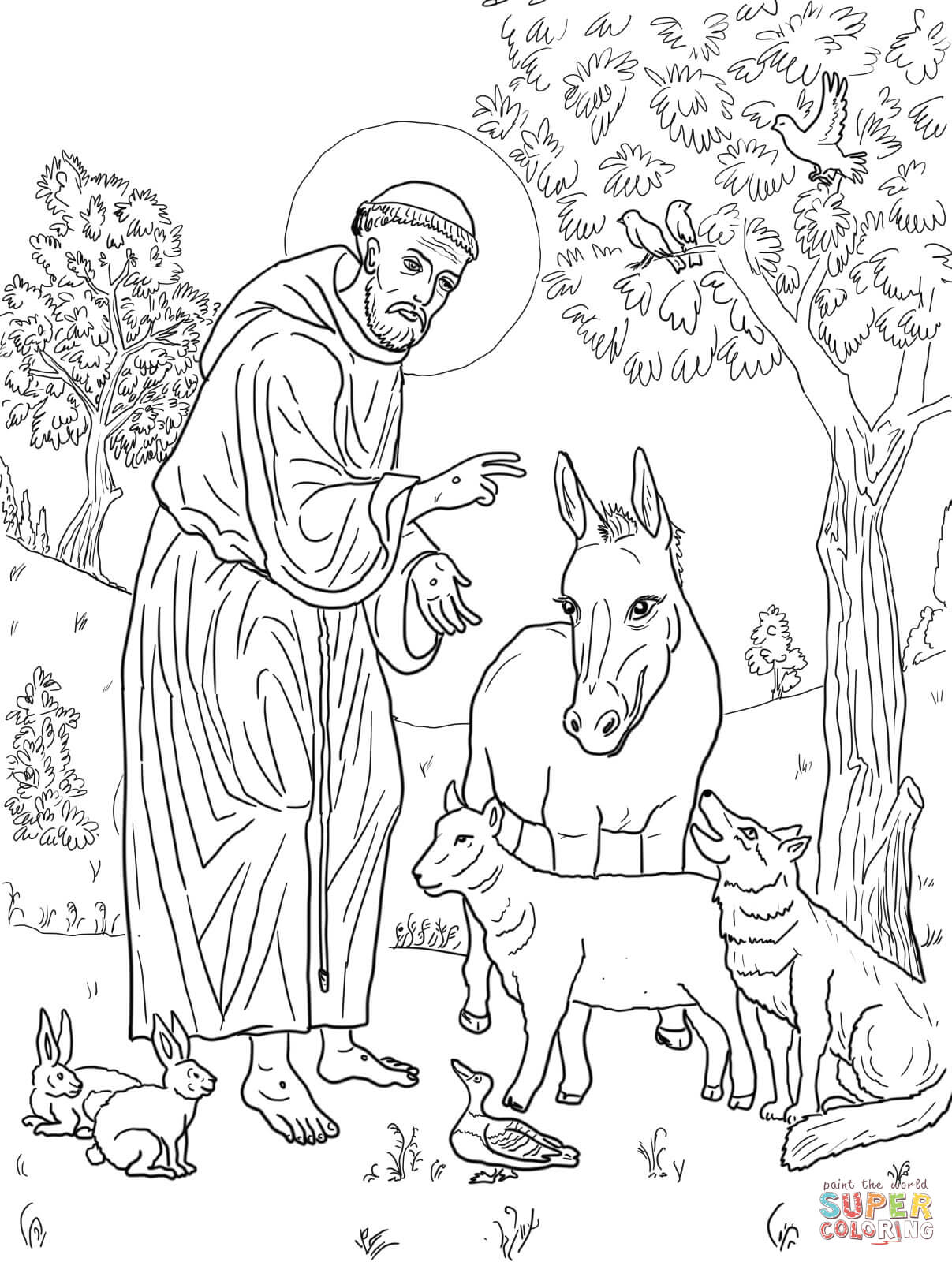 st francis of assisi coloring page saint francis blessing animals coloring page coloring assisi of page st francis