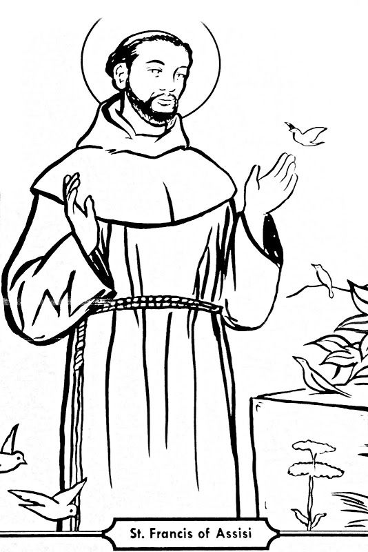 st francis of assisi coloring page st francis of assisi coloring page printable sketch of assisi francis st page coloring