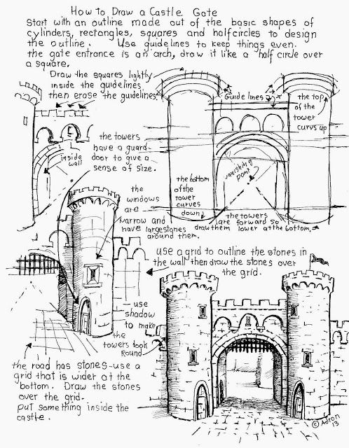 step by step how to draw a castle draw a castle worksheet free see the project notes at my to by draw castle how step step a