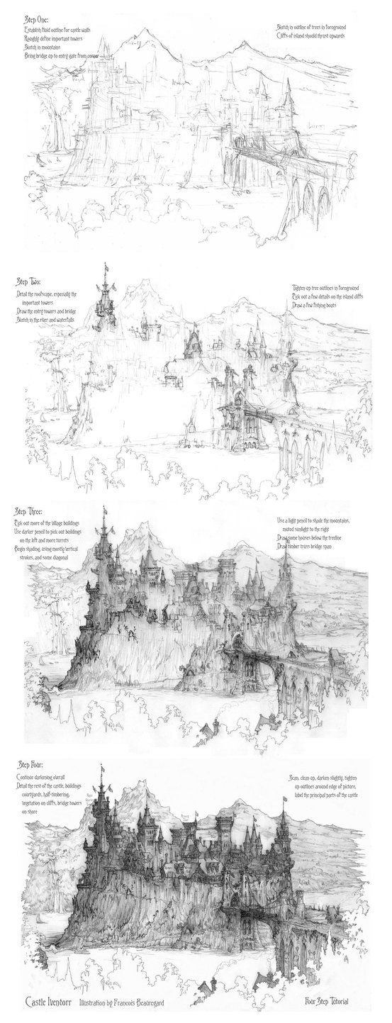 step by step how to draw a castle here is a free castle coloring page by kiddopedianet castle step how a by step draw to