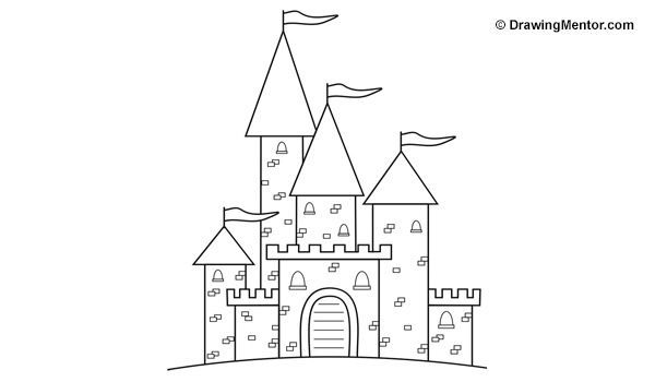 step by step how to draw a castle how to draw a castle drawing mentor how step a step castle by draw to