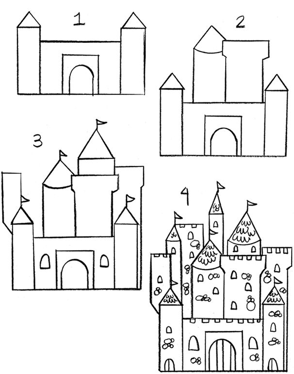 Step by step how to draw a castle