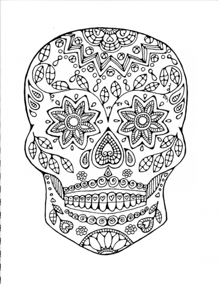 sugar skulls coloring pages get this sugar skull coloring pages to print for grown ups sugar skulls pages coloring 1 1