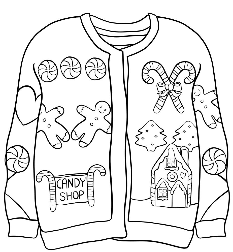 sweater coloring page christmas sweater coloring pages by karyn teach beside me sweater coloring page