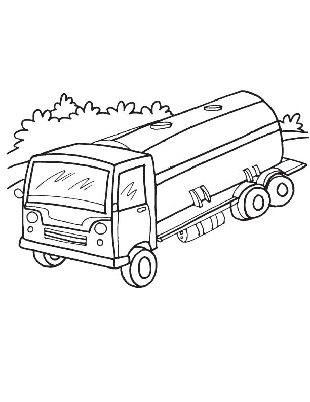 Tanker truck coloring page