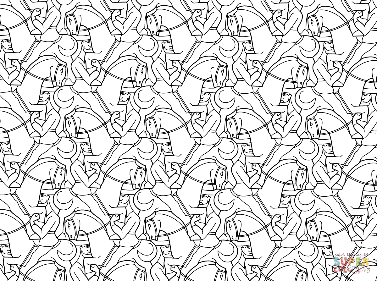tessellation colouring pages horseman tessellation by mc escher coloring page pages colouring tessellation