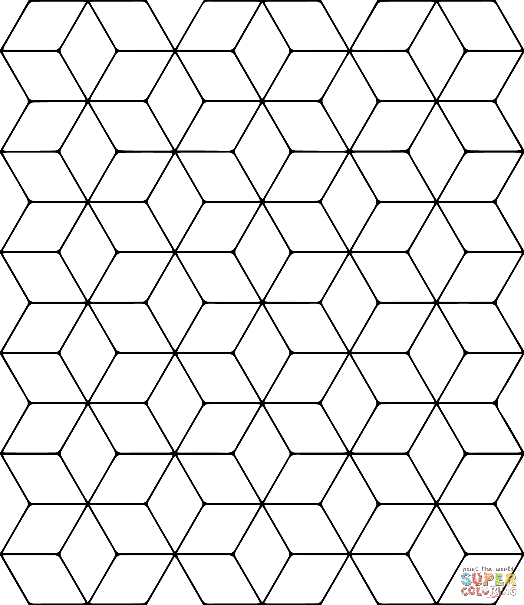 tessellation colouring pages tessellation with rhombus coloring page free printable colouring tessellation pages