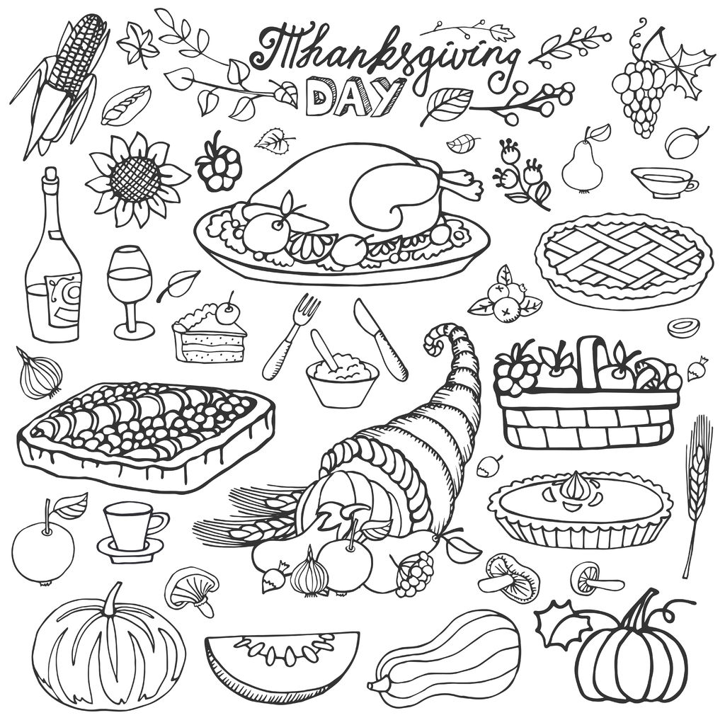 Thanksgiving food coloring pages