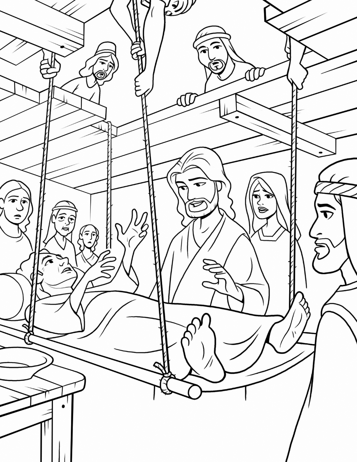 through the bible coloring pages jesus forgives and heals a paralyzed man mark 21 12 bible coloring through the pages