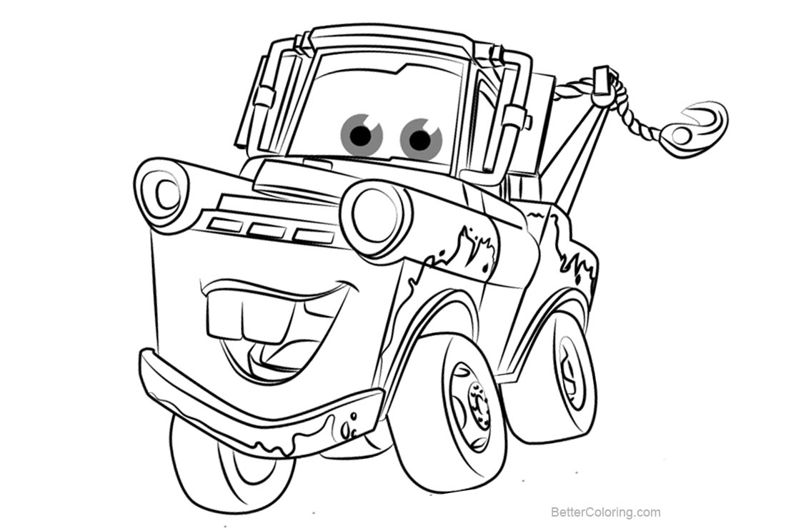 tow mater coloring pictures pixar tow mater coloring pages print coloring coloring mater pictures tow