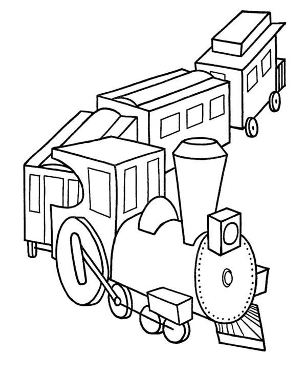 Toy train coloring pages