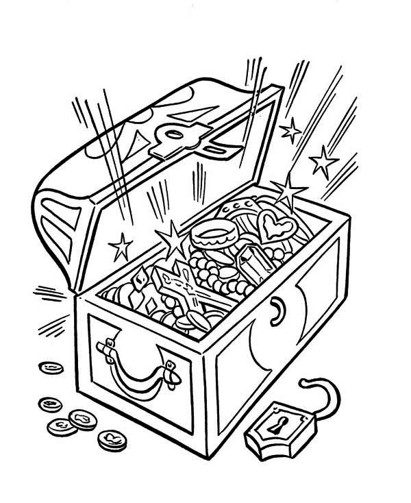 treasure chest coloring page an opened treasure chest full of fortunes coloring page page treasure chest coloring
