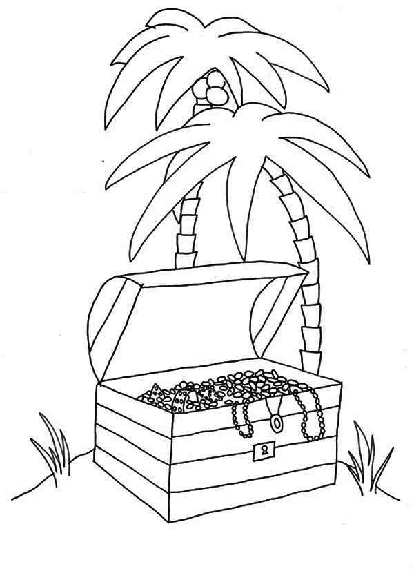 treasure chest coloring page an opened treasure chest in tropical island coloring page page treasure chest coloring