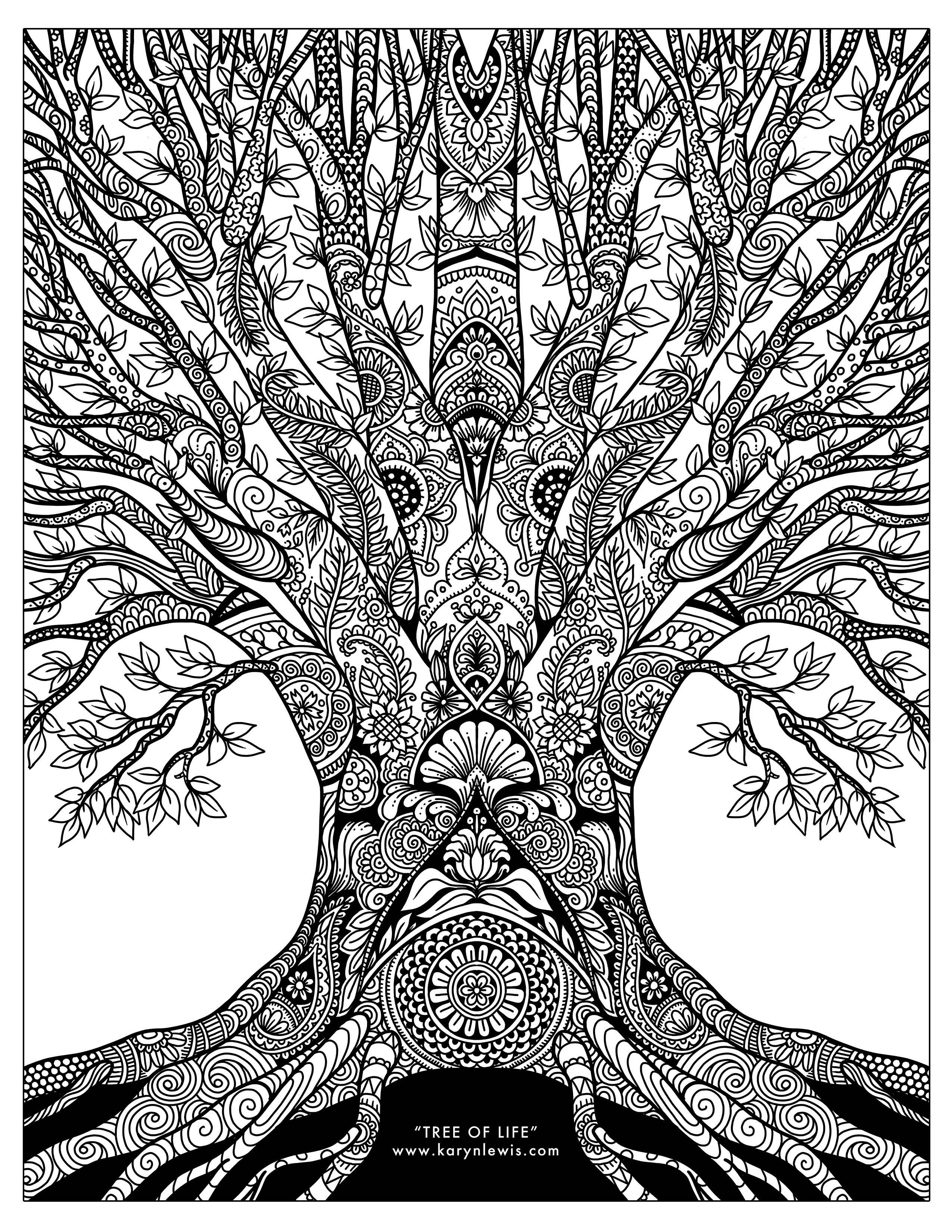 tree coloring pages quottree of lifequot doodle art free adult coloring page karyn coloring tree pages