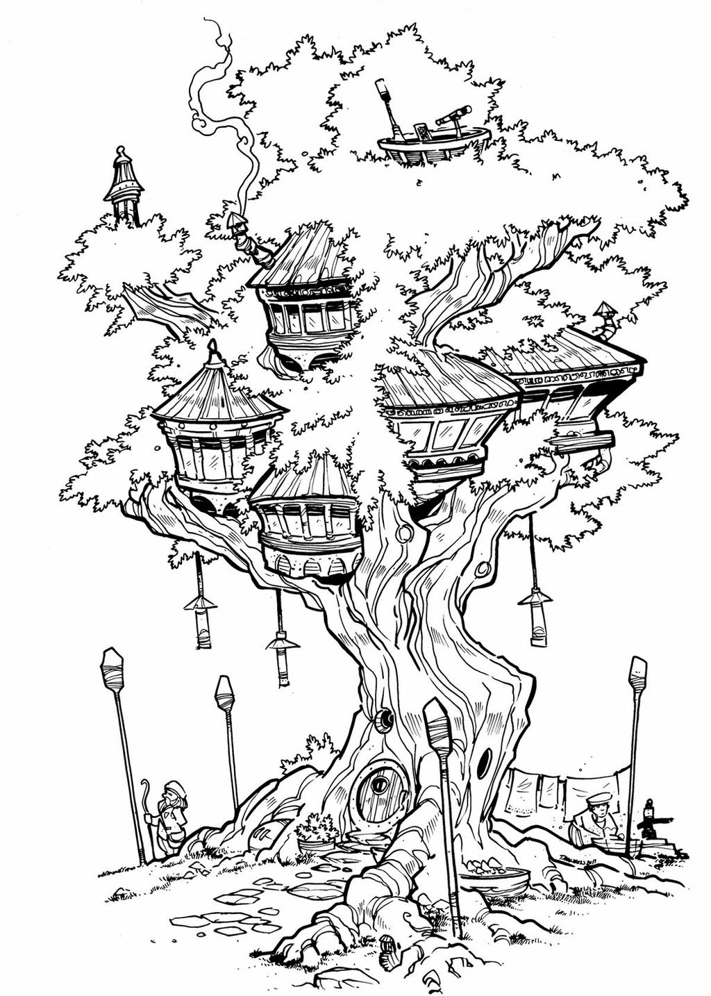 treehouse coloring pages amazing drawing of a treehouse coloring page color luna pages coloring treehouse