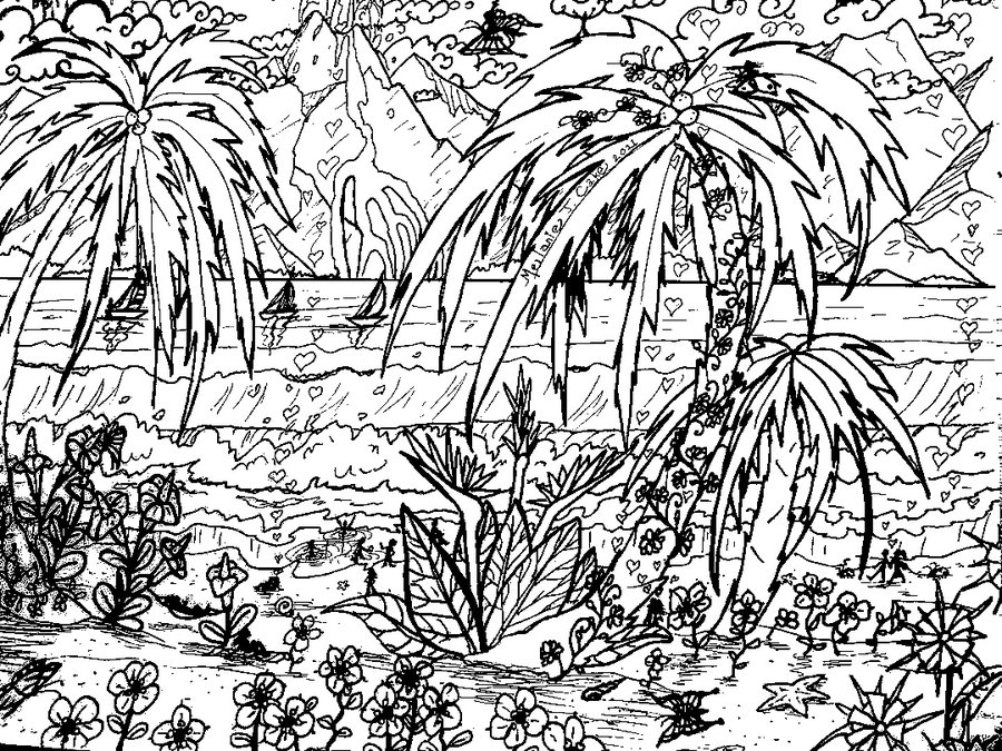 tropical pictures to color tropical island beach scene coloring page coloring home to tropical pictures color