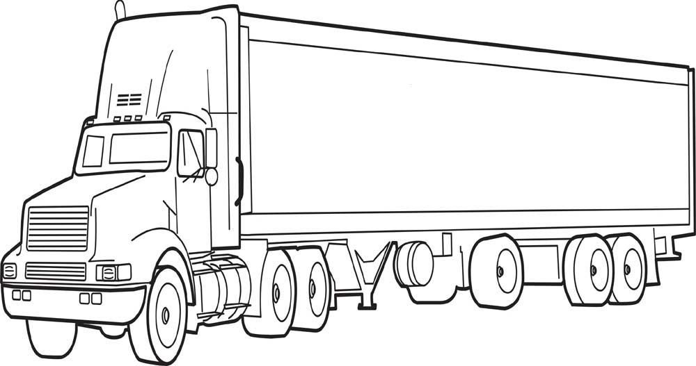 truck with trailer coloring pages semi drawing at getdrawings free download truck with coloring trailer pages