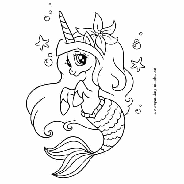 Unicorn mermaid coloring pages