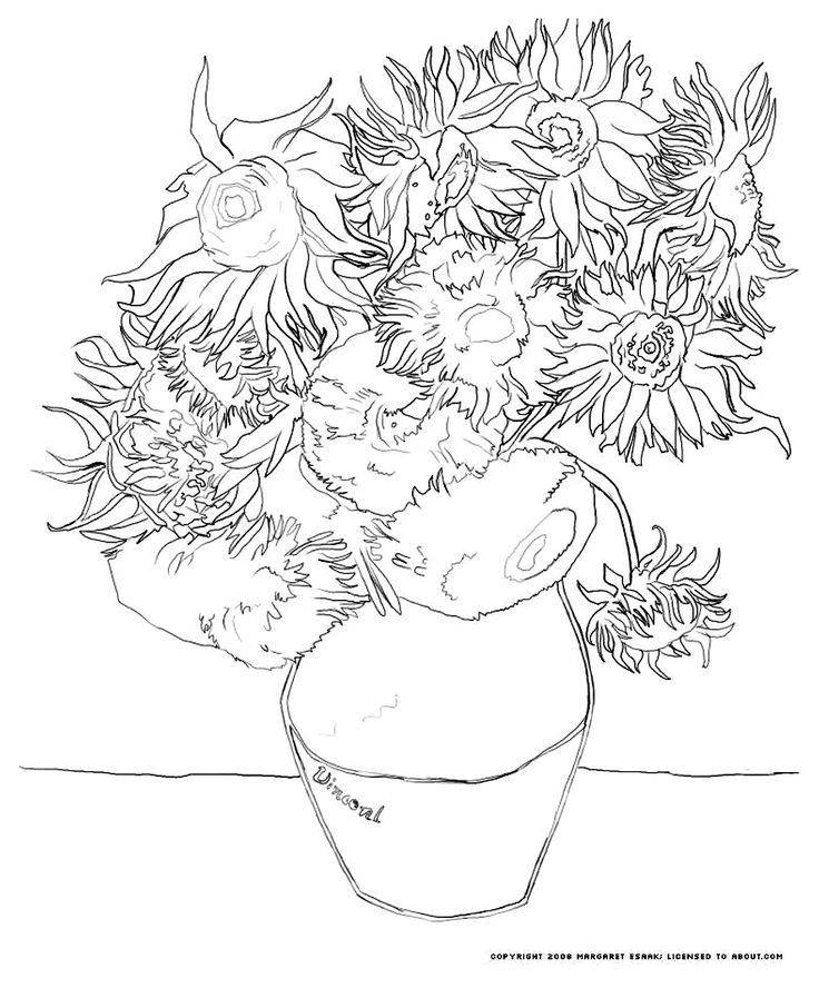 van gogh sunflowers coloring page 84 best images about icolor quotmasterpieces van goghquot on coloring gogh van page sunflowers