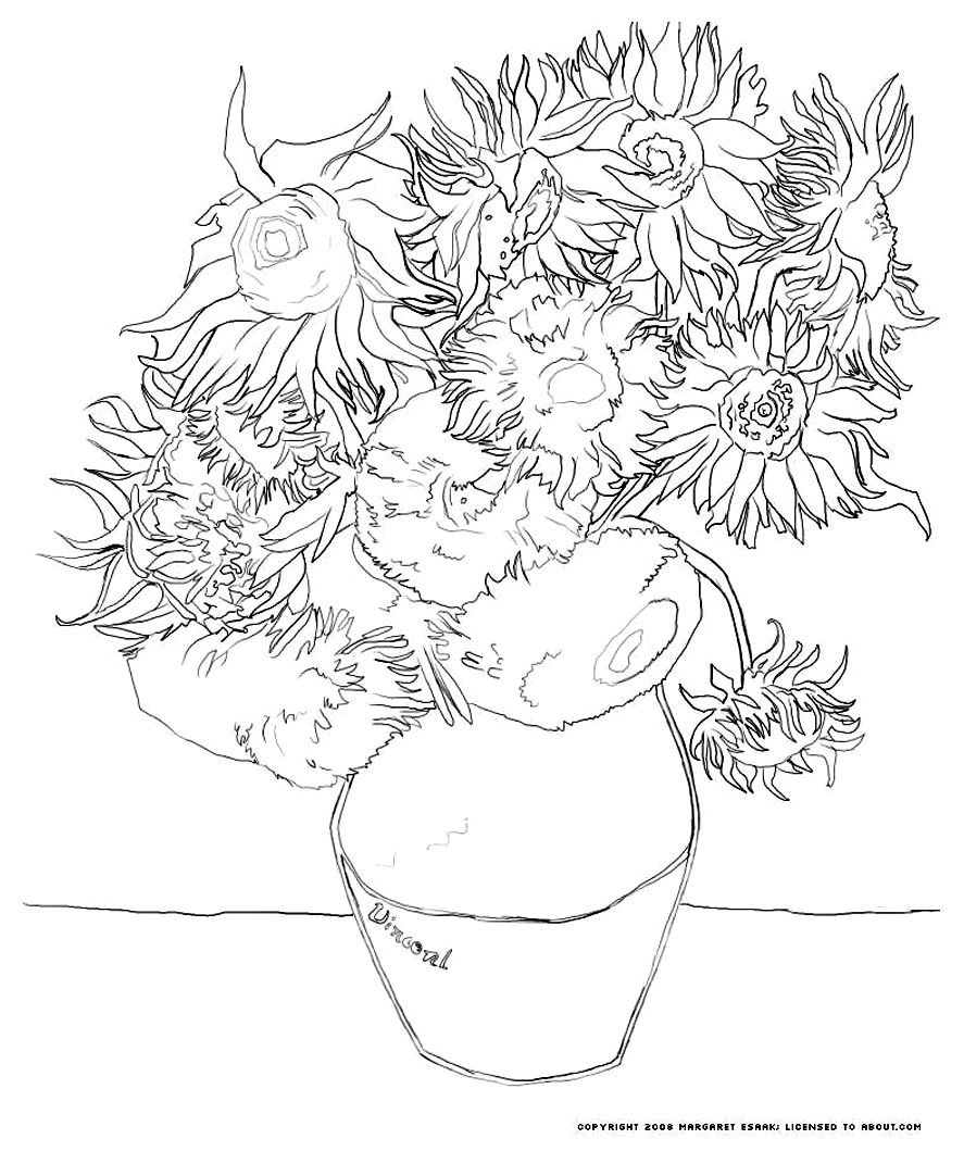 van gogh sunflowers coloring page free coloring page coloring van gogh tournesols the sunflowers coloring van gogh page