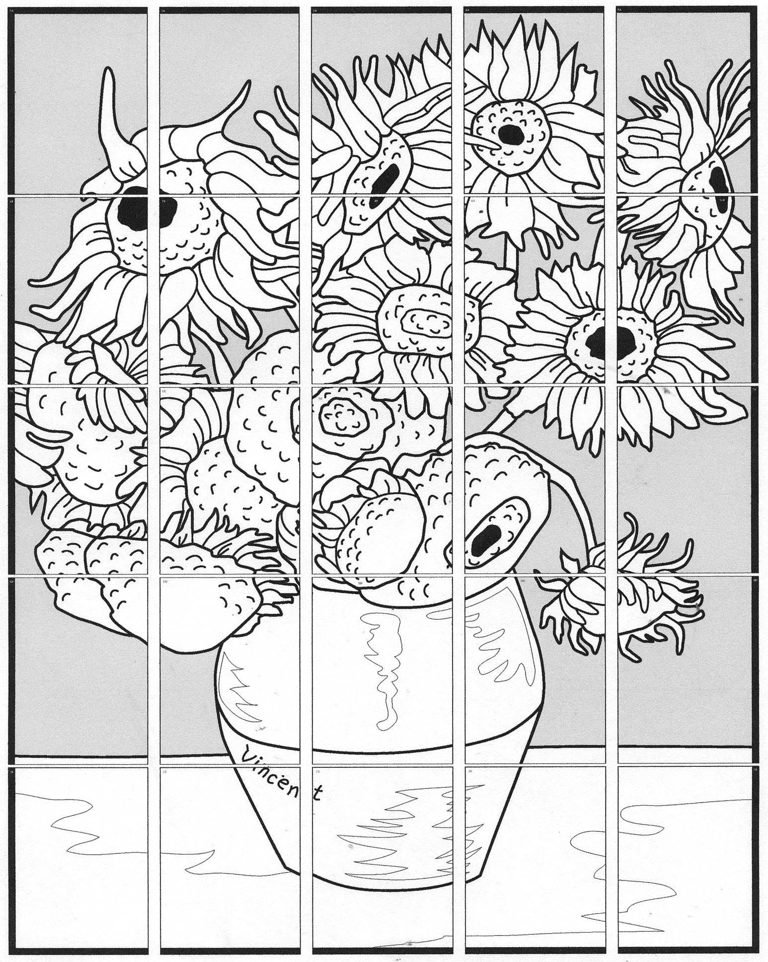 van gogh sunflowers coloring page sunflower coloring page van gogh sunflower coloring page coloring gogh sunflowers van page