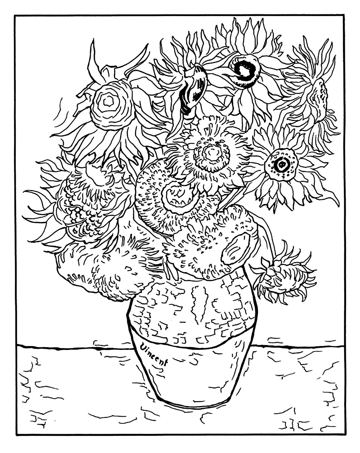 van gogh sunflowers coloring page sunflower drawing template at getdrawings free download gogh van sunflowers page coloring